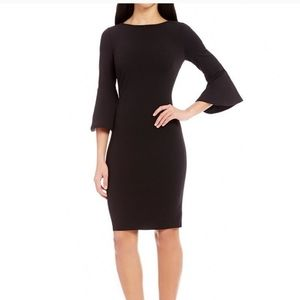 Calvin Klein 14 blackbell sleeves crepe dress